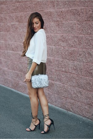 heather gray AmiClubWear bag - white Forever 21 top - army green Sheinside skirt