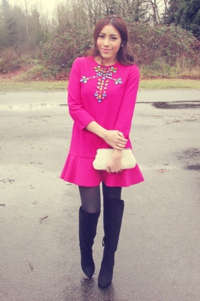 hot pink JollyChic dress - black Forever 21 boots