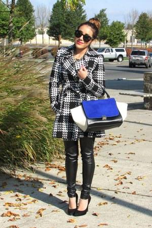 black coat - navy bag
