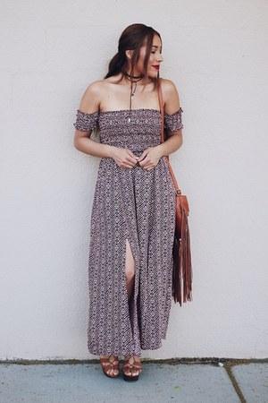 brick red Sheinside dress - dark brown Forever 21 necklace