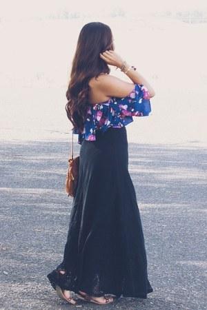 black skirt - Forever 21 bracelet - navy Forever 21 top