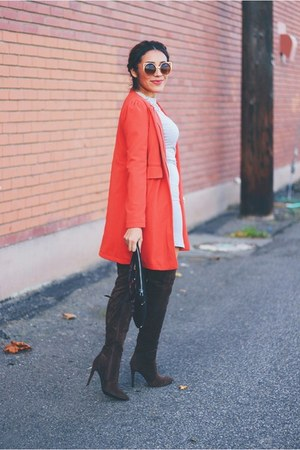 red coat - dark brown suede AmiClubWear boots - heather gray Sheinside dress