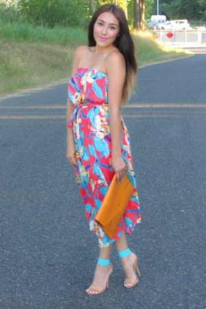 salmon f21 dress - tawny OASAP bag - nude f21 heels