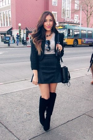 black Forever 21 boots - dark gray Chicwish skirt