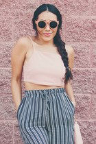 light pink crop top top - salmon sunglasses - navy stripes pants