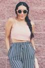 Salmon-sunglasses-navy-stripes-pants-light-pink-crop-top-top