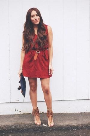 brick red suede Sheinside dress