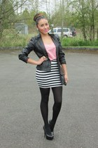 light pink top - black materia girl skirt - black Steve Madden pumps