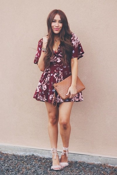 brick red floral Sheinside romper - tawny Old Navy bag - beige JustFab heels