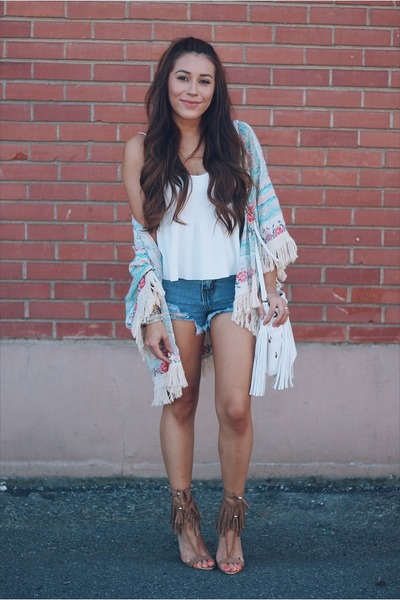 cream kimono jacket - blue denim Sheinside shorts - brown AmiClubWear heels