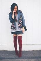 crimson boots - black leather dress - brick red aztec jacket