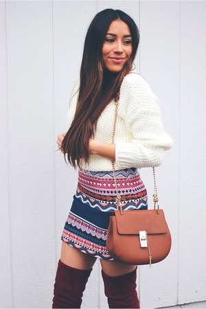 ruby red tribal Sheinside skirt - maroon boots - ivory Sheinside sweater