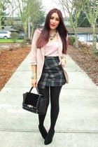 charcoal gray Sheinside skirt - neutral f21 blazer