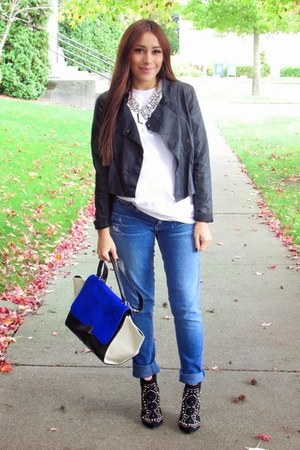 black Forever 21 boots - black Bar III jacket - white Choies t-shirt