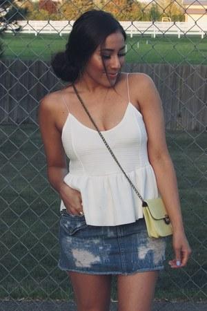 blue skirt - white top