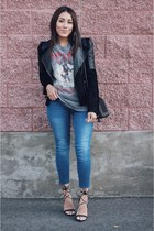 black motorcycle jacket - heather gray Forever 21 t-shirt - black lace up heels