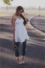 White-sheinside-dress-beige-justfab-heels