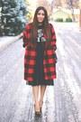 Red-plaid-relaxfeel-coat-black-asos-heels