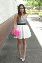 white Forever 21 skirt - bubble gum Target bag - silver UrbanOG heels