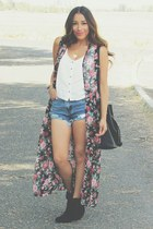 hot pink floral print 25south vest - black boots - white Forever 21 top