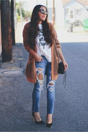burnt orange Relaxfeel cardigan - navy Macys jeans - white Lovelywholesale shirt
