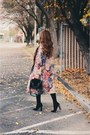 Black-amiclubwear-boots-tan-floral-rosegal-coat-black-bag