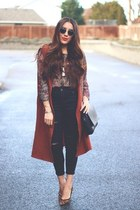 brick red Alexandrauritis vest - dark brown asos pumps