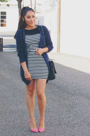 navy cardigan - black stripes Forever 21 dress - bubble gum Shoedazzle pumps