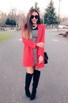 red romwe coat - black Forever 21 boots - black VJ-style glasses
