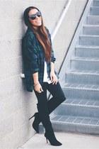 dark green Lovelywholesale t-shirt - black Forever 21 boots - black glasses