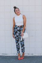 white Forever 21 top - navy floral print romwe pants - coral XOXO heels