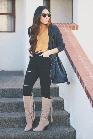 camel TrafficShoes boots - black Sheinside jeans - gray cardigan