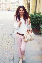 nude boots - white Ci Moda Italy shirt - cream Kenzia bag - nude Kenzia bag