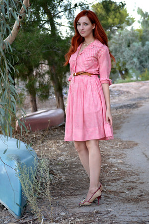 red vintage gingham Barbara Lee Fashion dress - nude Chinese Laundry heels