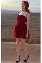 woven belt Armani Exchange belt - ruby red chichwish dress - Eva Mae Modes hat