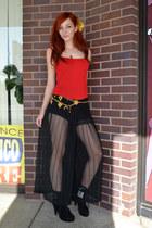 red tank top Bebe top - sheer pleated thrifted vintage pants