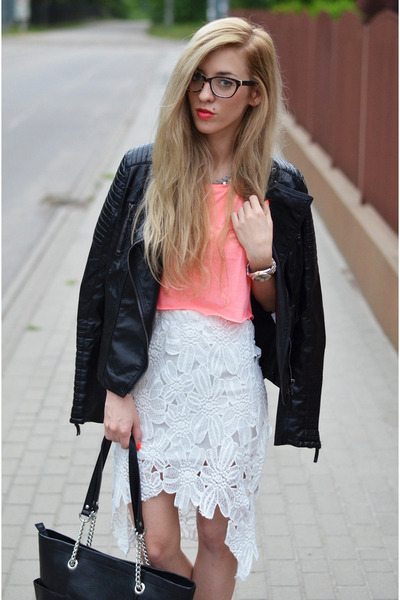lace high low skirt - jacket