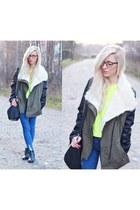 coat - jeans - sweater