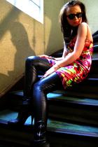 black asos sunglasses - red Mango dress - black Zara leggings - black Zara shoes