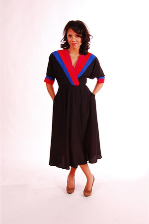 black stripes vintage from etsy dress - hot pink vneck simong chang dress - blue