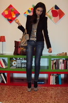 Zara blazer - Zara t-shirt - liu jo jeans - Halmanera shoes - Zara belt - balenc