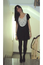 black asos dress - black cinti boots - black Calzedonia tights