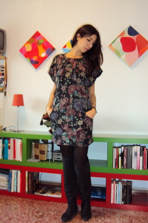 black Zara boots - Mango dress - Calzedonia tights