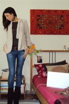 Zara sweater - ethic t-shirt - Zara jeans - Primadonna boots - Massimo Dutti bel