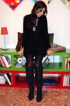 silver H&M necklace - black Zara boots - black Zara dress