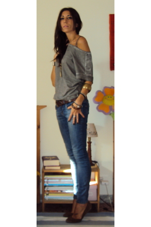 Zara t-shirt - met jeans - Massimo Dutti belt - Zara shoes - Accessorize accesso