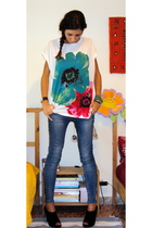 Yumi Boutique t-shirt - Zara jeans - cinti shoes - bracelet