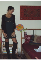 black Zara sweater - black Zara boots - green ethic dress