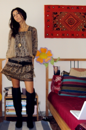Zara dress - Massimo Dutti belt - Zara boots - Accessorize accessories
