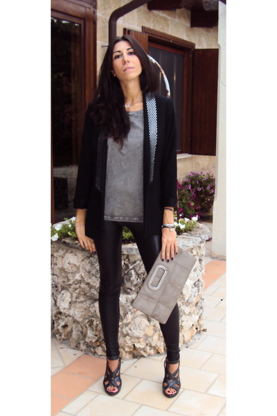 Zara blazer - Zara t-shirt - imperial leggings - asos shoes - Accessorize purse